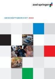 GESCHÄFTSBERICHT 2003 - Axel Springer AG