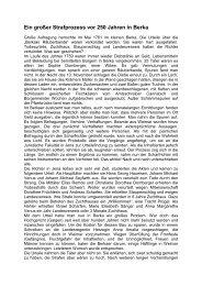 Ein großer Strafprozess vor 250 Jahren in Berka - Kurstadt Bad Berka