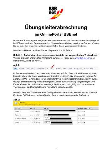 Anleitung Übungsleiterabrechnung online - Badischer Sportbund ...