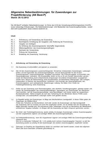 Allgemeine Nebenbestimmungen für Zuwendungen zur ...