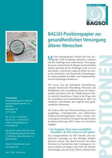 BAGSO-Positionspapier zur gesundheitlichen Versorgung älterer ...