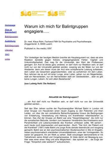 Klaus Rohr: 'Warum ich mich für Balintgruppen engagiere.....'