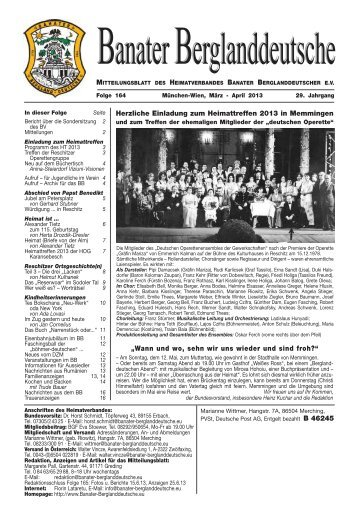 """Herzliche Einladung zum Heimattreffen 2013 in Memmingen """"Wann ..."""