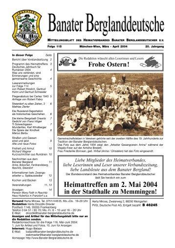 Heimattreffen am 2. Mai 2004 - Banater Berglanddeutsche