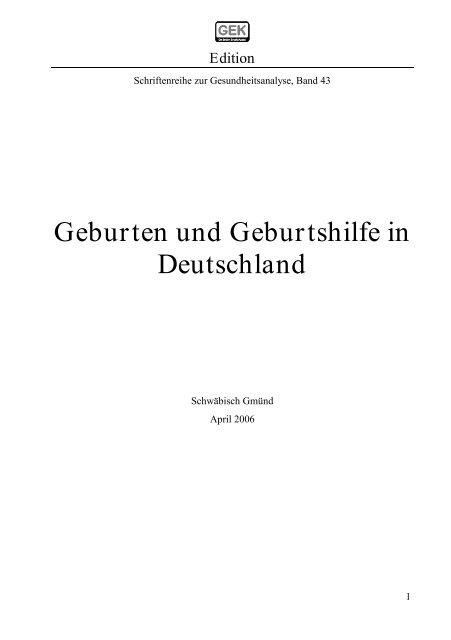 Geburten und Geburtshilfe in Deutschland - Barmer GEK