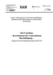 Job Coaching - Kernelement der Unterstützten Beschäftigung - - BAR