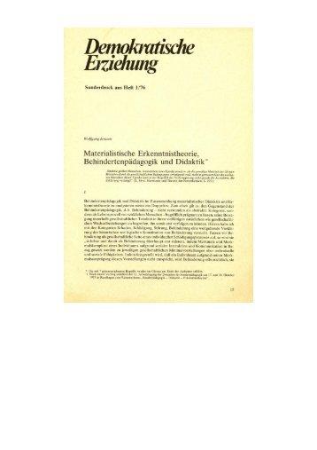Materialistische Erkenntnistheorie ... - Wolfgang Jantzen