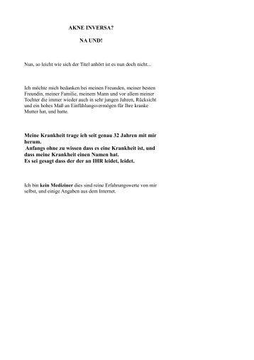 Kurzgeschichte zu AI - Akne-Inversa-Homepage eines Betroffenen