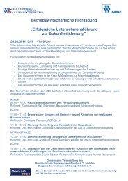 Betriebswirtschaftliche Fachtagung - Baugewerbeverband ...