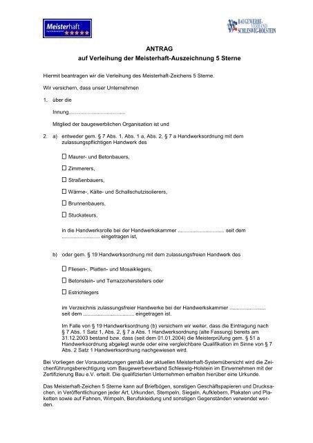 Antrag für 5 Sterne - Baugewerbeverband Schleswig-Holstein