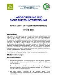 laborordnung und sicherheitsunterweisung - Department für ...