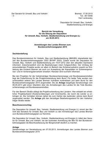 Sachstand Anmeldung Bundesverkehrswegeplan 2015
