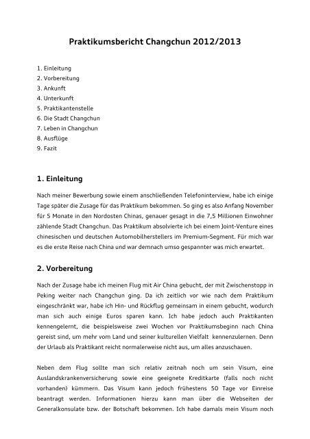 Praktikumsbericht Changchun Baychina