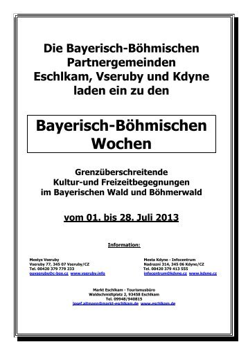 Broschüre Bayerisch-Böhmische Wochen 2013 - Naturpark Oberer ...