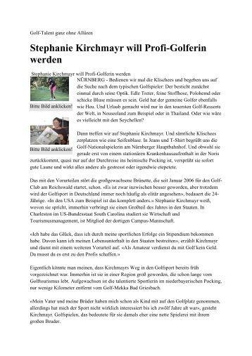 Stephanie Kirchmayr will Profi-Golferin werden - Bayerischer ...