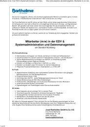 (m/w) in der EDV & Systemadministration und Datenmanagement