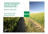 Halbjahresabschluss zum 30. Juni 2013. Conference ... - BayWa AG