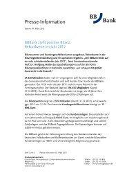 Rekordwerte im Jahr 2012 - BBBank eG