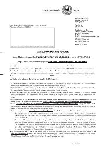 Anmeldeformular - Fachbereich Biologie, Chemie, Pharmazie ...