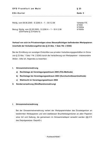 - Austauschblatt - OFD Frankfurt am Main § 23 E S t - K a r t e i Karte 5