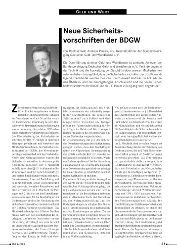 Neue Sicherheitsvorschriften der BDGW - BDSW