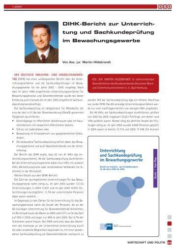 DIHK-Bericht zur Unterrichtung und Sachkundeprüfung im ... - BDSW