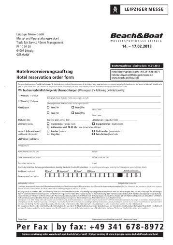 Per Fax   by fax: +49 341 678-8972 - Beach & Boat