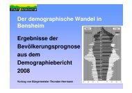 Der demographische Wandel in Bensheim Ergebnisse der ...