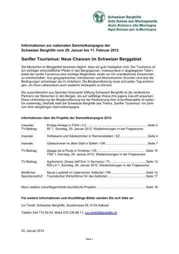 Informationen zur Sammelkampagne 2012 - Schweizer Berghilfe