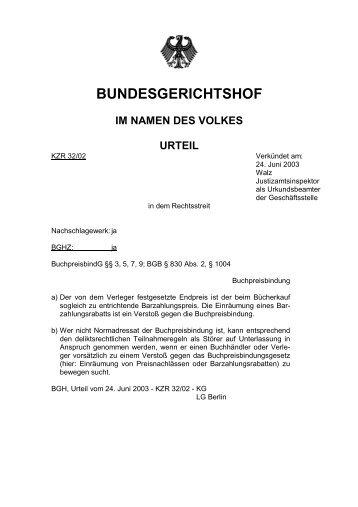 Urteil des BGH vom 24.06.2003 zur Gewährung von Skonto beim ...