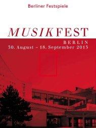 Broschüre Musikfest Berlin 2013 - Berliner Festspiele
