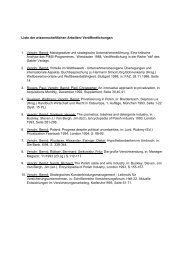 Liste der wissenschaftlichen Arbeiten/ Veröffentlichungen 1. Venohr ...