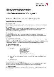 Benützungsreglement Sekundarschule - in der Gemeinde Berneck