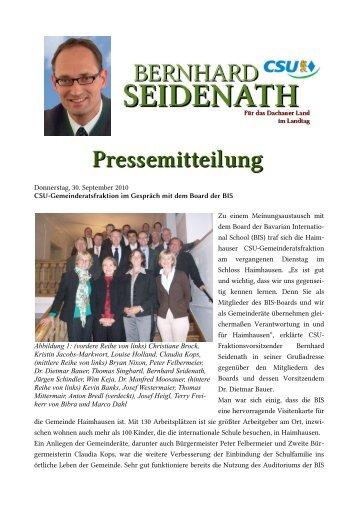 Donnerstag, 30. September 2010 CSU-Gemeinderatsfraktion im ...