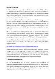 Datenschutzpolitik - Best Western Hotels Deutschland