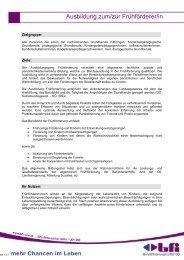 Ausbildung zum/zur Frühförderer/in