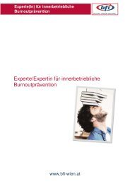 Experte/Expertin für innerbetriebliche Burnoutprävention - BFI Wien