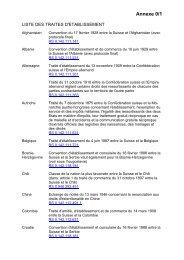 Annexe 0/1 Liste des traités d'établissement