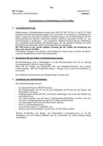 Kennzeichnung von Rohrleitungen auf Seeschiffen