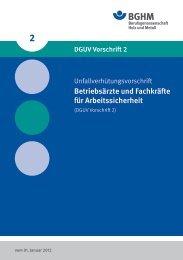 DGUV Vorschrift 2 - Berufsgenossenschaft Holz und Metall