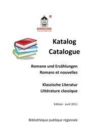 litterature en francais - Bibliothèque Publique Régionale de ...