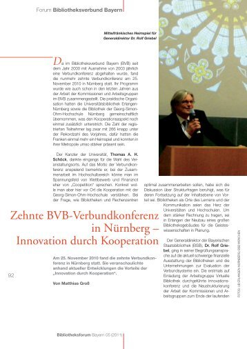 Innovation durch Kooperation - Bibliotheksforum Bayern