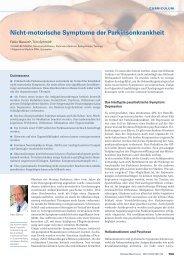 Nicht-motorische Symptome der Parkinsonkrankheit