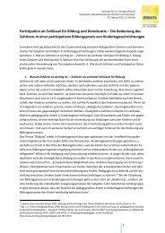 Partizipation als Schlüssel für Bildung und Demokratie – Die ...