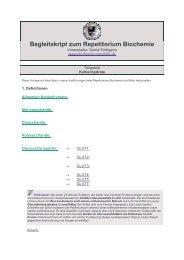 Begleitskript zum Repetitorium Biochemie - Biochemie - Nachhilfe