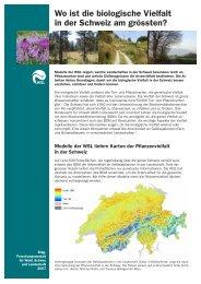 Wo ist die biologische Vielfalt in der Schweiz am grössten?