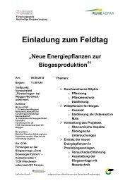 Einladung zum Feldtag - Bioenergie-Regionen