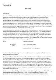 Versuch 10 - Biologie und Vorklinische Medizin