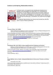 Evolution und Schöpfung. Materialdokumentation Im Darwin-Jahr ...
