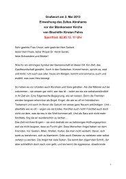 Bischöfin Fehrs - Grußwort zur Eröffnung des Zeltes ... - in Blankenese